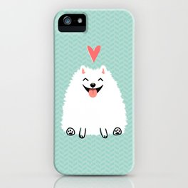 Fluffy White Pomeranian with Heart iPhone Case