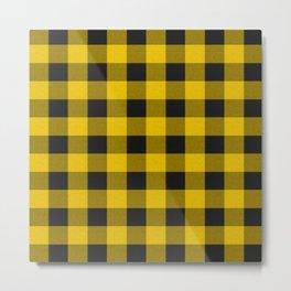 Yellow and black plaid Metal Print