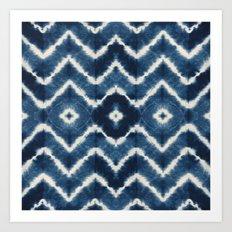 Shibori, tie dye, chevron print Art Print