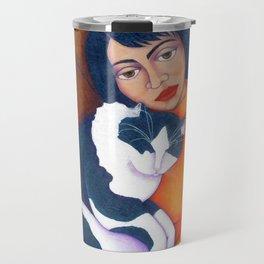 Cat Morgana with Woman Travel Mug