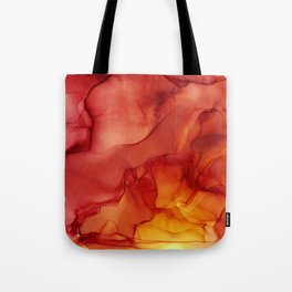 Red Sunset Abstract Ink Painting Red Orange Yellow Flame Tote Bag