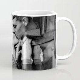 The Kiss - The Last Goodbye - Lovers kissing goodbye through open window on train black and white photograph Coffee Mug