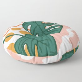 Monstera Split Leaf in Sunrise Floor Pillow