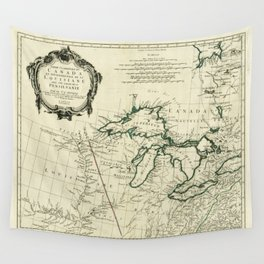 Map of the Great Lakes Region, North America (1784) Wall Tapestry