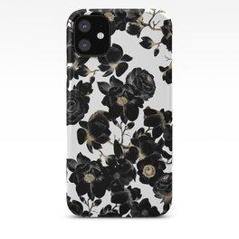 Modern Elegant Black White and Gold Floral Pattern iPhone Case