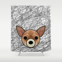 chihuahua Shower Curtains featuring Chihuahua by lllg