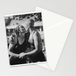 Swimmers Kissing Stationery Cards