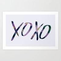 xoxo Art Prints featuring XOXO by Leah Flores