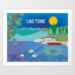 Lake Tahoe - Skyline Illustration by Loose Petals Art Print