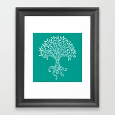 Tree of Life Teal Framed Art Print