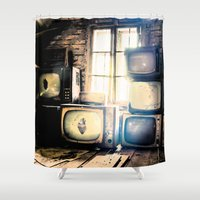 tv Shower Curtains featuring Old televisions in a dusty attic by cannedmoods