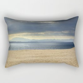 Sand dune, Meditarranean sea and African mountains. Rectangular Pillow