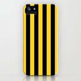 Yellow and Black Honey Bee Vertical Beach Hut Stripes iPhone Case