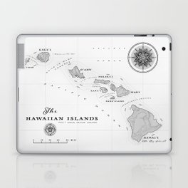The Hawaiian Islands [Black & White] Map Print Laptop & iPad Skin