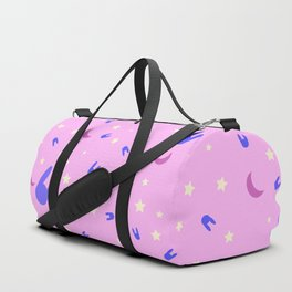 Sailor Moon inspired vibrant pattern on pink Duffle Bag