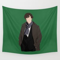 benedict cumberbatch Wall Tapestries featuring Benedict Cumberbatch as Sherlock Holmes by liamgrantfoto
