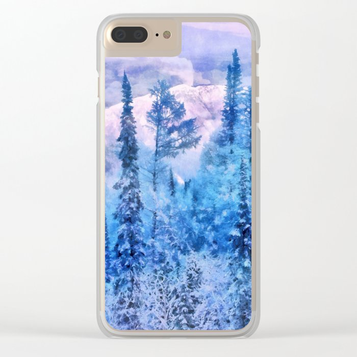 Winter forest in mountains Clear iPhone Case
