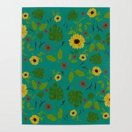 Sunflower & Monstera Leaf Poster