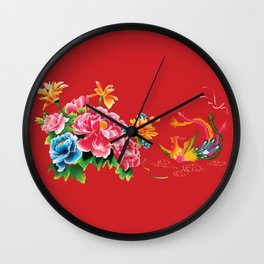 chinese peonies and phoenix Wall Clock