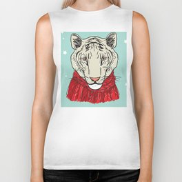 Merry Christmas New Year's card design Tiger head in a red knitted sweater and a scarf. Sketch Biker Tank