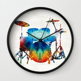 Drum Set Art - Color Fusion Drums - By Sharon Cummings Wall Clock