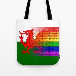 Gay Rainbow Wall Wales Flag Tote Bag