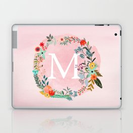 Flower Wreath with Personalized Monogram Initial Letter M on Pink Watercolor Paper Texture Artwork Laptop & iPad Skin