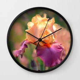 Gold & Purple Iris Wall Clock
