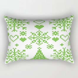 Christmas Cross Stitch Embroidery Sampler Green And White Rectangular Pillow