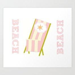 My Beach Chair Star - Pink Stripes Art Print