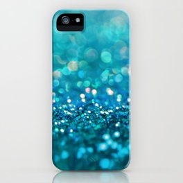 Teal turquoise blue shiny glitter print effect - Sparkle Luxury Backdrop iPhone Case