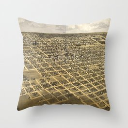 Vintage Pictorial Map of Springfield IL (1867) Throw Pillow