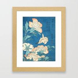 Japanese Flowers Turquoise Peach Framed Art Print