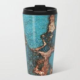AQUA & GOLD GEMSTONE Metal Travel Mug