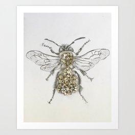 Rhinestone Queen Bee Mixed Media Art Print Art Print