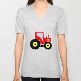 Red toy tractor Unisex V-Neck