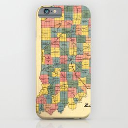Vintage Indiana Railroad Map (1852) iPhone Case