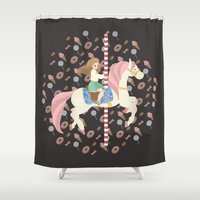 carousel Shower Curtains featuring Carousel by Zorroalado