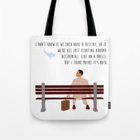 forrest gump Tote Bags featuring Forrest Gump by Christina