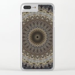 Mandala in warm brown and gray tones Clear iPhone Case