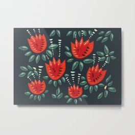 Abstract Red Tulip Floral Pattern Metal Print