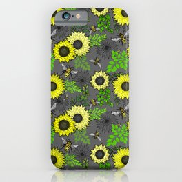 Sunflowers and Bees iPhone Case
