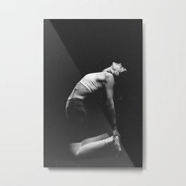 Woman meditating in a yoga pose Metal Print