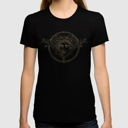 medusa / gold minimal line logo on navy background T-shirt