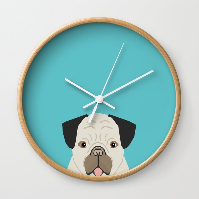 size 40 f0985 242a6 Dylan - Pug cute gift ideas for pug owners dog lover gifts and cell phone  case with pug illustration Wall Clock by petfriendly