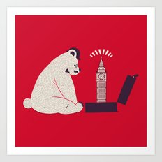 Traveler Tourist Big Ben Bear UK Art Print