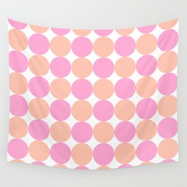 Pink and Peach Dot Pattern Wall Tapestry