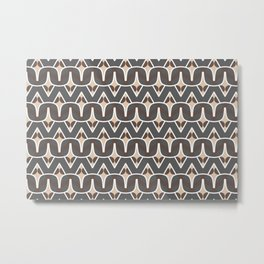 BAOBAB - abstract ethnic boho pattern tan chocolate brown grey Metal Print