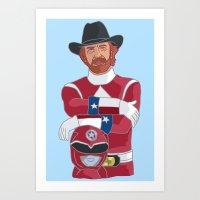power ranger Art Prints featuring Walker Texas Power Ranger by Emily Niland