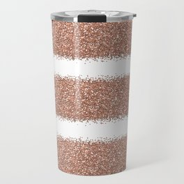 Rose gold glitter stripes Travel Mug
